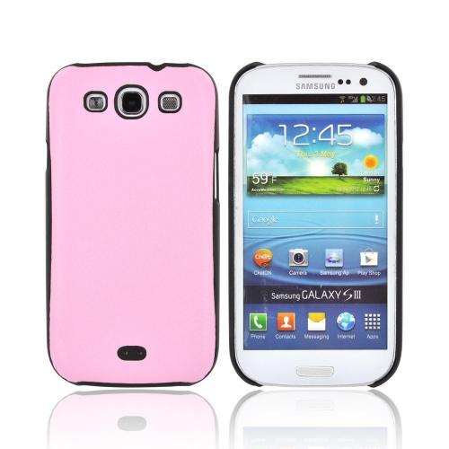 Samsung Galaxy S3 Leather Hard Back Case - Baby Pink/ Black