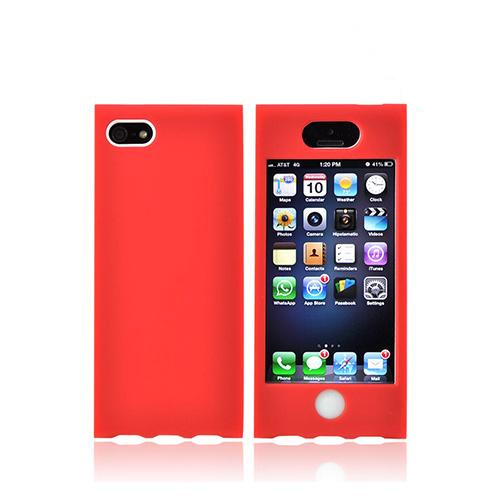 Apple iPhone SE / 5 / 5S Hard Case,  [Red/ White]  Premium Hard Case Over Silicone