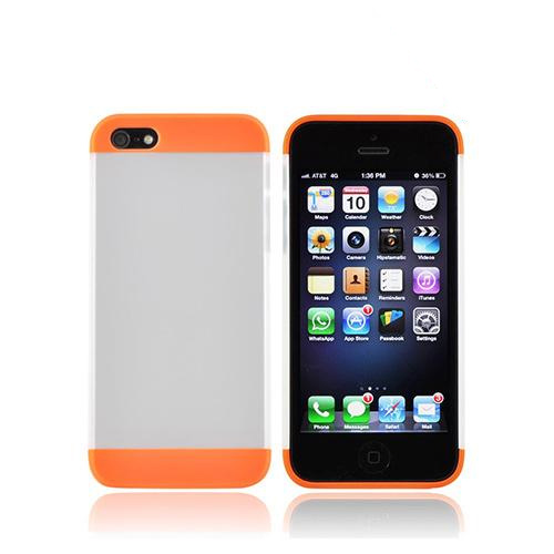 Apple iPhone SE / 5 / 5S Hard Case,  [Neon Orange/ Frost White]  Premium Slide-On Hard Case