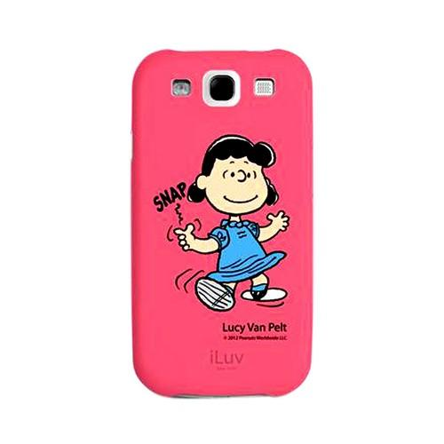 iLuv Peanuts Lucy Van Pelt on Hot Pink Rubberized Hard Case for Samsung Galaxy S3