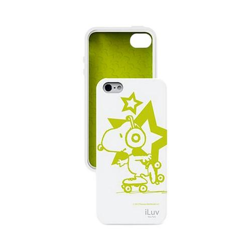 Apple iPhone SE / 5 / 5S  Case, iLuv [Peanuts Glow In The Dark Rollerskating Snoopy ]  White Silicone Case