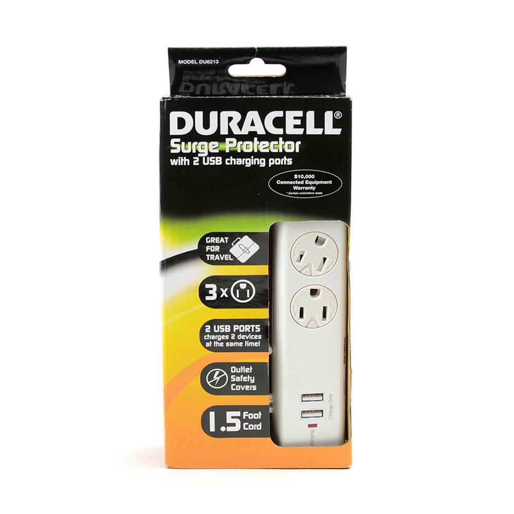 Duracell White 3 Outlet Surge Protector w Swivel Safety Covers & 2 USB Charging Ports - DU6213