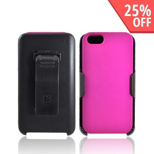 Apple iPhone SE / 5 / 5S  Case,  [Hot Pink/ Black]  Rubberized Hard Case w/ Holster Swivel Belt Clip w/ Screen Protector