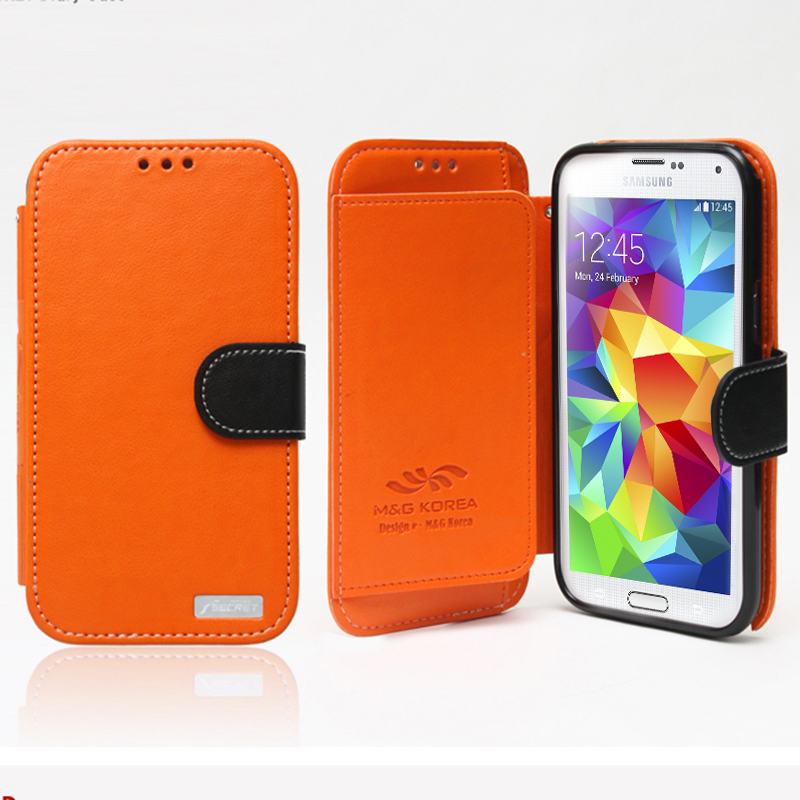 Nodea Orange/ Black Samsung Galaxy S5 Secret Diary Series Wallet Case Hard Case [tpu/ Faux Leather] Credit Card Slots, Stand Function