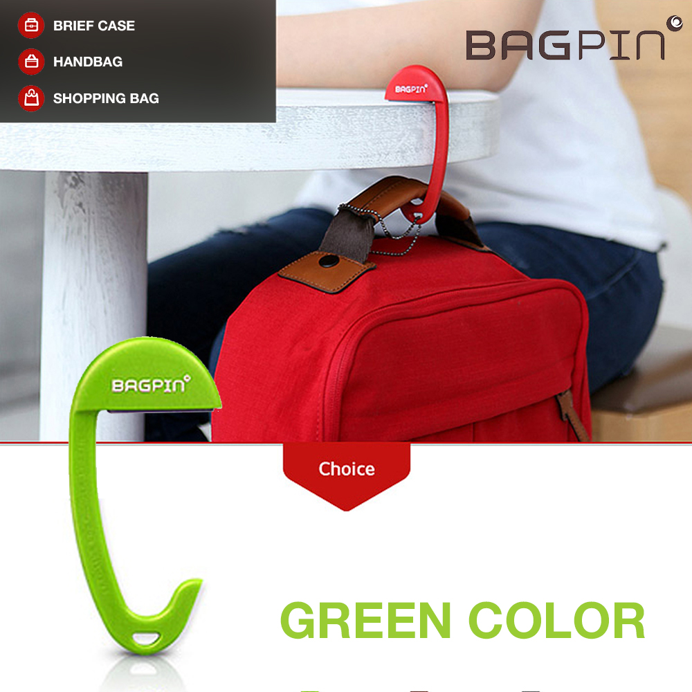 Bagpin Hanger [Lime Green] Super Strong Hanger/Hook For Purses, Bags, And Backpacks (Holds Up To 33lbs!) Attaches To Your Purse Or Bag For Convenience