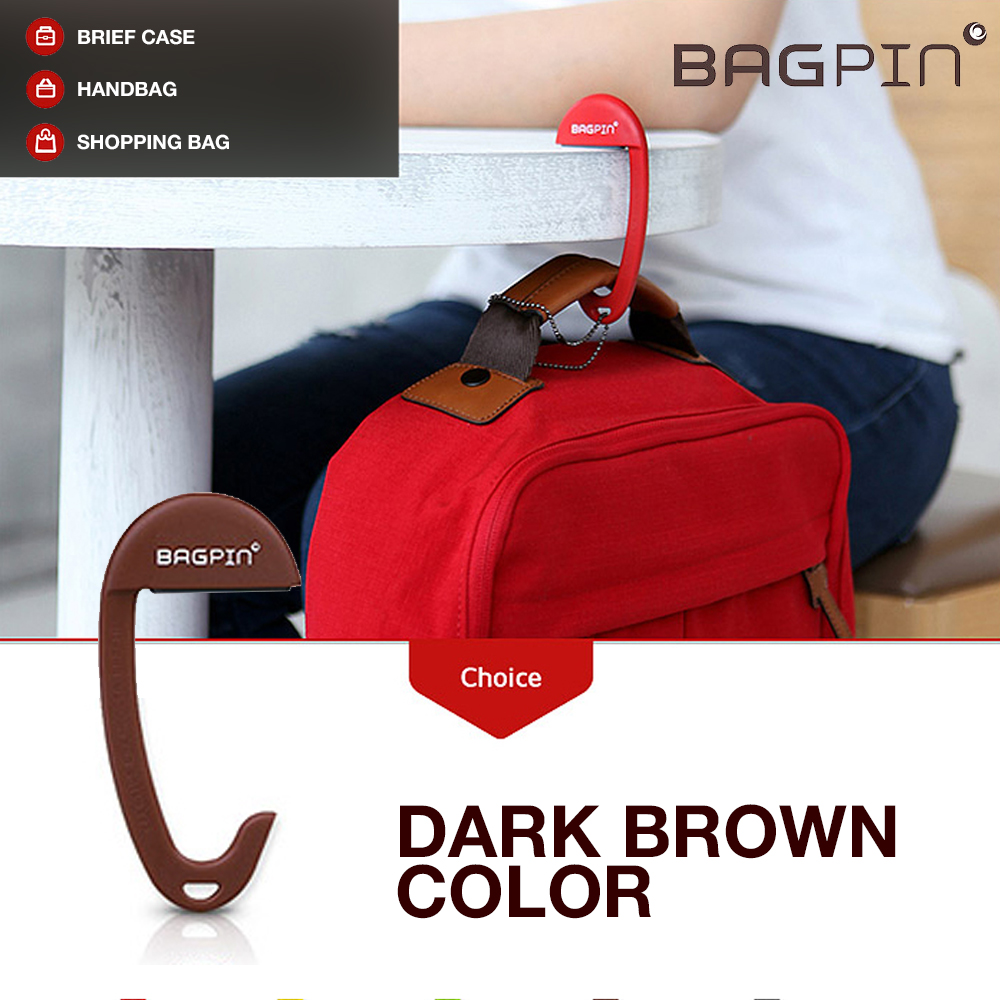Bagpin Hanger [Dark Brown] Super Strong Hanger/Hook For Purses, Bags, And Backpacks (Holds Up To 33lbs!) Attaches To Your Purse Or Bag For Convenience