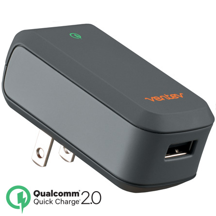 Ventev Gray Qualcomm Quick Charge Wallport q1200 USB Wall Charger Adapter w/ Micro USB Data Cable