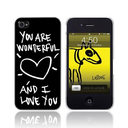 Original Lost Dog Apple iPhone 4 Hard Case w/ Screen Protector, 7359-LDPK - You Are Wonderful on Black
