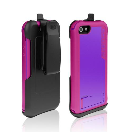 Apple iPhone SE / 5 / 5S  Case, Ballistic [Purple/ Hot Pink] Every1 Series Hybrid Case w/ Holster w/ Built-In Screen Protector