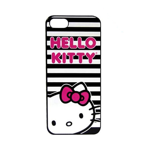 Apple iPhone SE / 5 / 5S  Case, Sanrio [Black/ White Stripes Hello Kitty]  Hard Back Cover - KT4489BWP