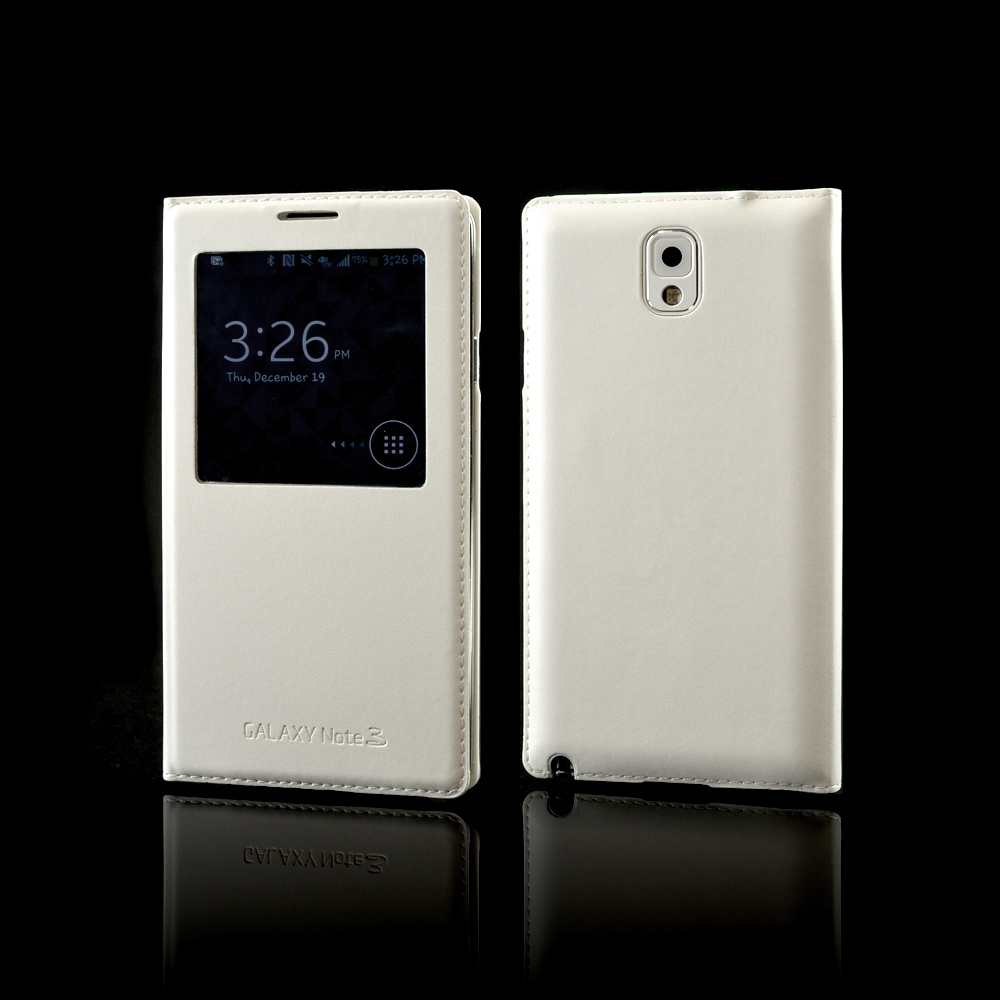 White S-View Flip Cover Diary Case w/ IC Chip for Samsung Galaxy Note 3