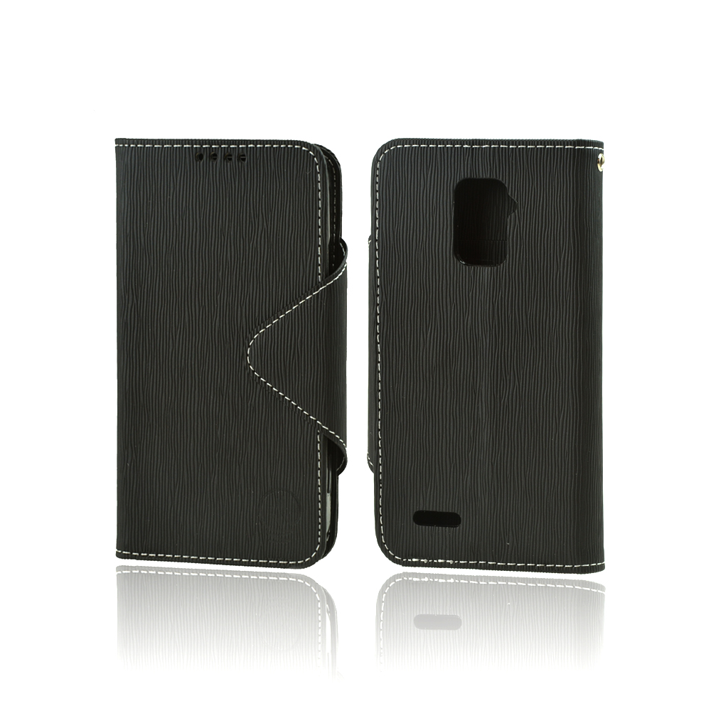 Power Mobile Black Faux Leather Diary Flip Case w/ ID Slots, Bill Fold, Magnetic Closure for ZTE Warp 4G