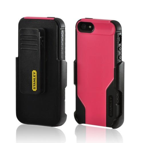 Made for Apple iPhone SE / 5 / 5S  Case, Incipio [Hot Pink/ Black] Stanley Technician Series Rugged Hard Case on Silicone w/ Holster Screen Protector by Stanley