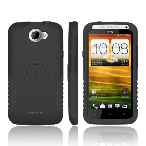 Trident Aegis HTC One X Hard Cover Over Silicone w/ Screen Protector, AG-ONEX-BK - Black