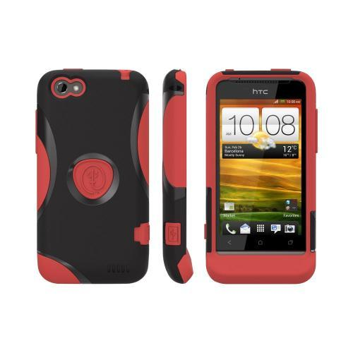 OEM Trident Aegis HTC One V Hard Cover Over Silicone Case w/ Screen Protector - Red/ Black