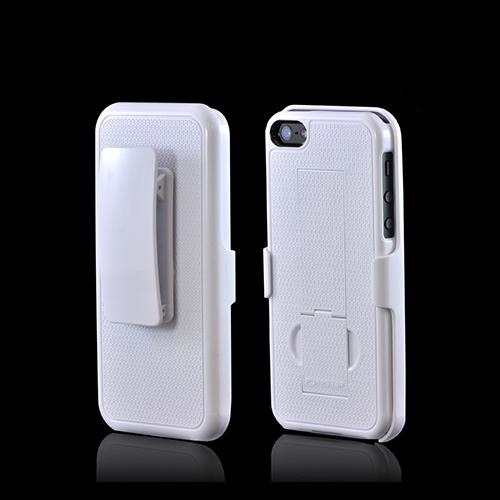 Apple iPhone SE / 5 / 5S  Case, PureGear [White]  Rubberized Hard Kickstand Case w/ Holster - 02-001-01859