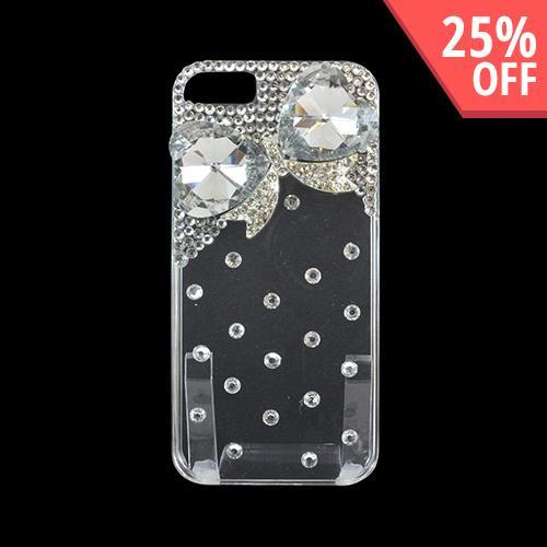 Apple iPhone SE / 5 / 5S Bling Case,  [Clear Gem Hearts with Silver]  Hard Back Case w/ Bling