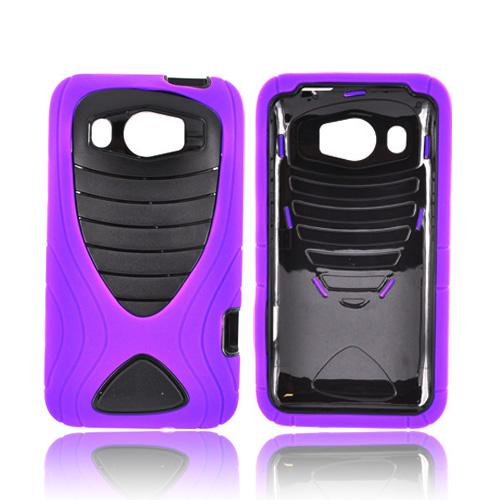 HTC Titan 2 Silicone Over Hard Case w/ Drop Protection - Purple/ Black