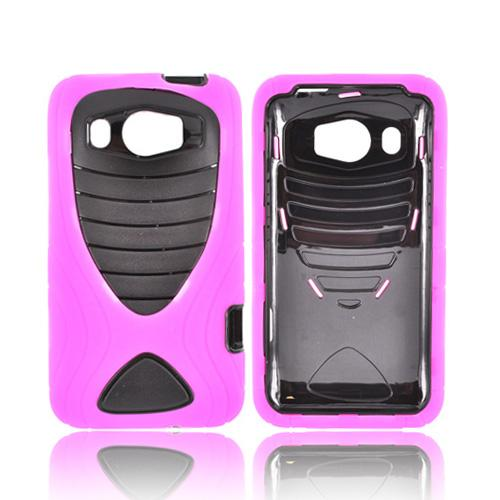 HTC Titan 2 Silicone Over Hard Case w/ Drop Protection - Pink/ Black