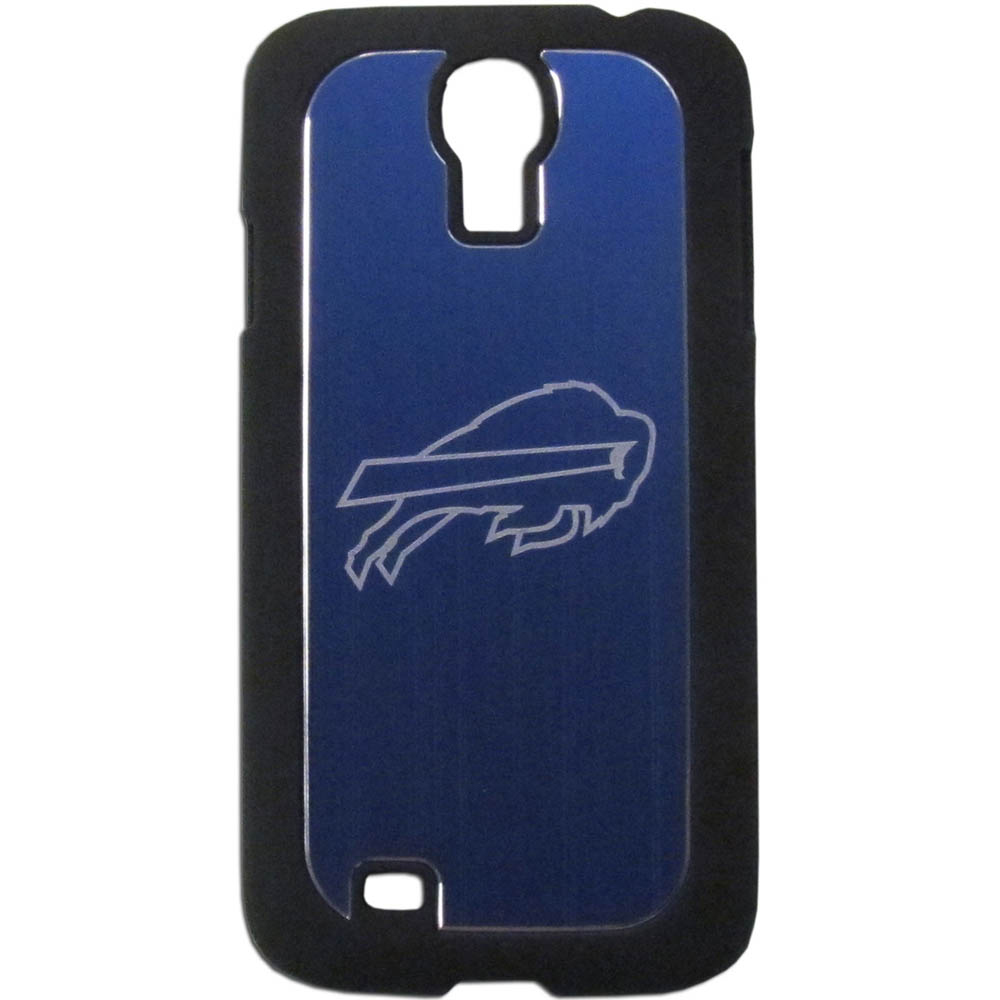 Buffalo Bills Black Rubberized Hard Tough Case w/ Etched Engraved Back for Samsung Galaxy S4 - NFL Licensed