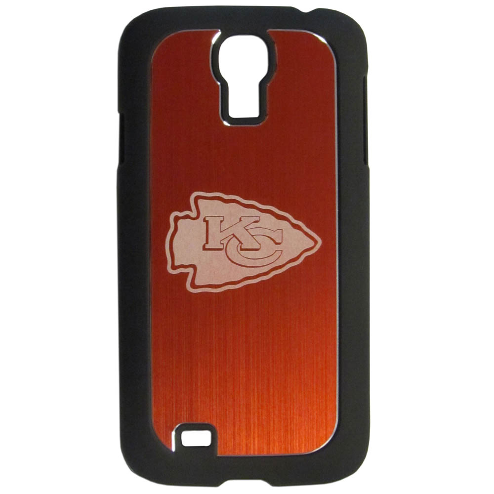 Kansas City Chiefs Black Rubberized Hard Tough Case w/ Etched Engraved Back for Samsung Galaxy S4 - NFL Licensed