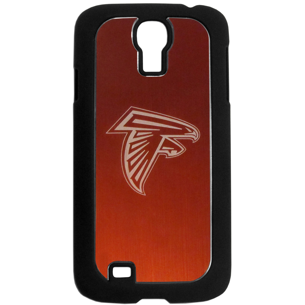 Atlanta Falcons Black Rubberized Hard Tough Case w/ Etched Engraved Back for Samsung Galaxy S4 - NFL Licensed