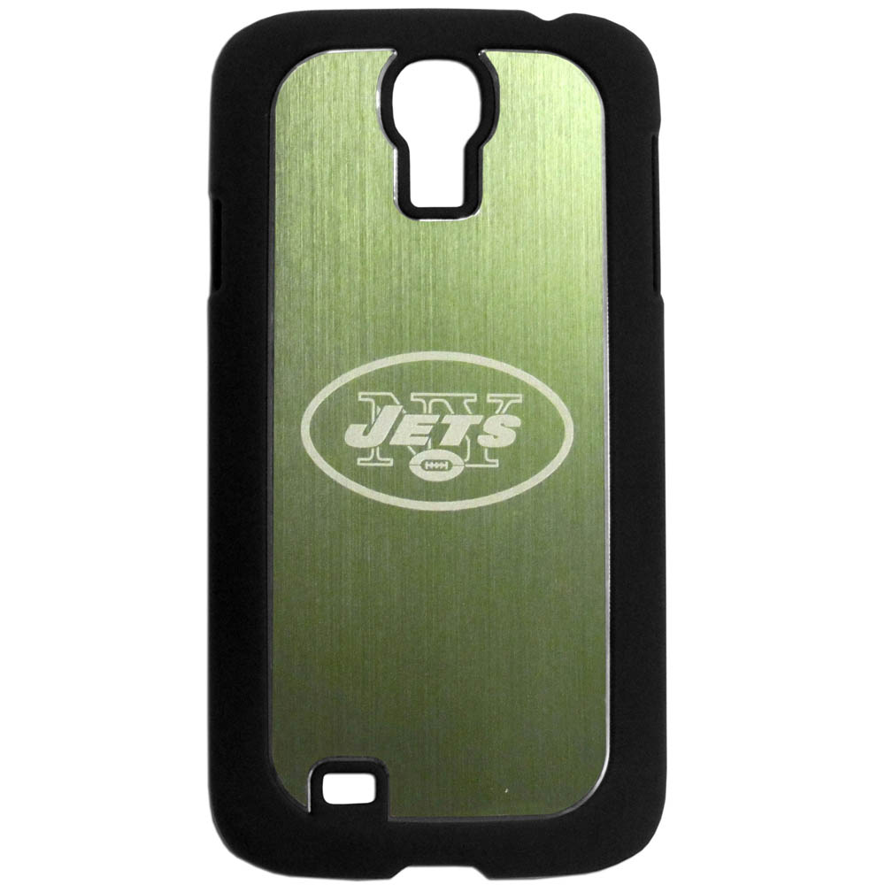 New York Jets Black Rubberized Hard Tough Case w/ Etched Engraved Back for Samsung Galaxy S4 - NFL Licensed