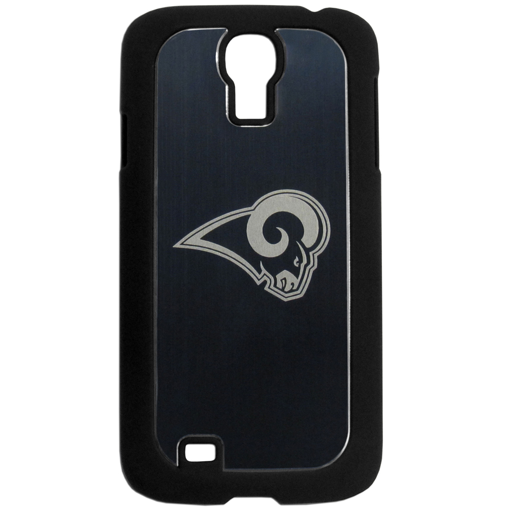 St. Louis Rams Black Rubberized Hard Tough Case w/ Etched Engraved Back for Samsung Galaxy S4 - NFL Licensed