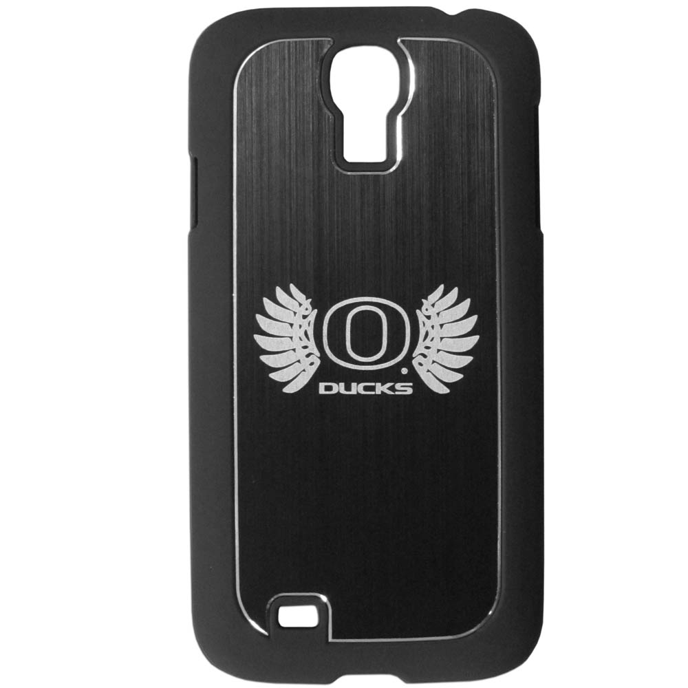 Oregon Ducks Black Rubberized Hard Tough Case w/ Etched Engraved Back for Samsung Galaxy S4 - NCAA Licensed