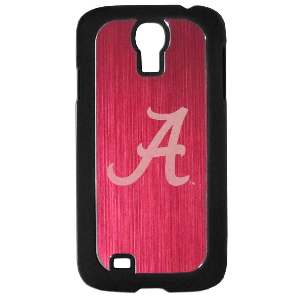 Alabama Crimson Tide Black Rubberized Hard Tough Case w/ Etched Engraved Back for Samsung Galaxy S4 - NCAA Licensed