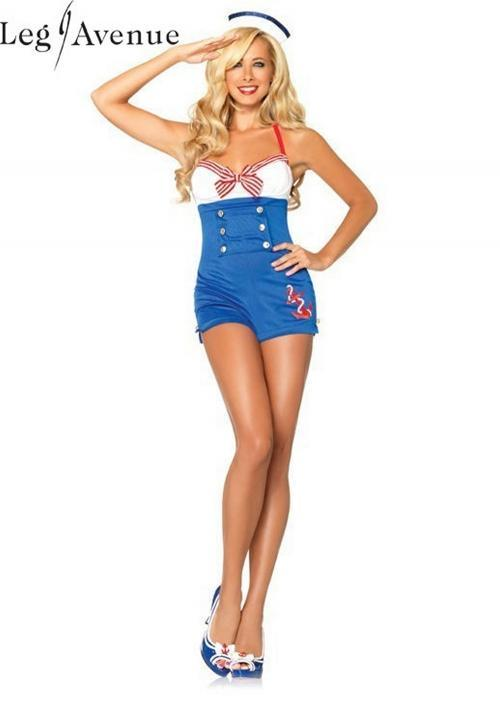 LegAvenue Halloween Costume High Seas Honey Romper w, Woven Anchor Detail & Sailor Hat 83638