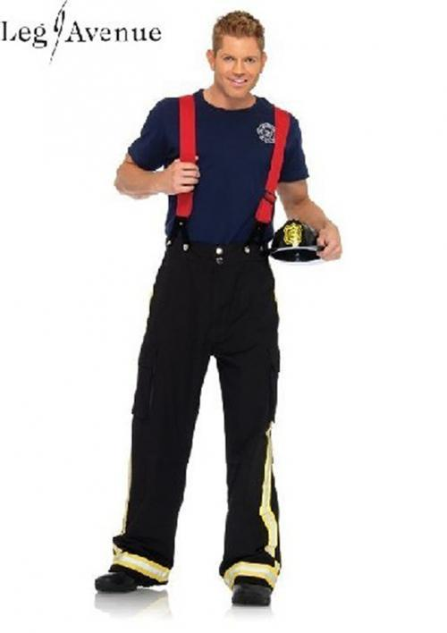 3PC LegAvenue Halloween Costume Men's Fire Captain Pants w, Reflective Trim, T-Shirt, & oversized Suspenders 83684
