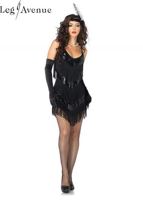 LegAvenue Halloween Costume Roaring 20's Honey, Sequin Fringe Dress w, Low Back & Matching Headband 83800
