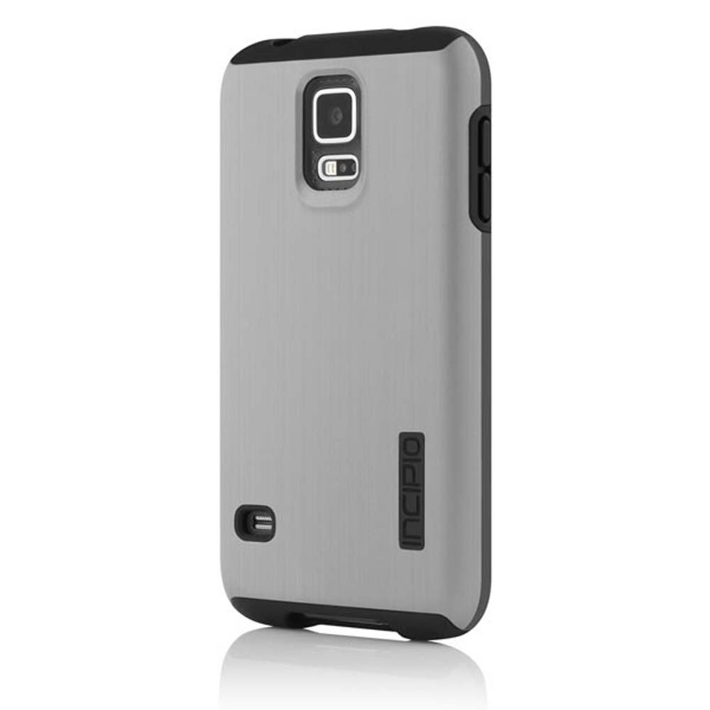 Incipio Silver/ Black Dual PRO Shine Series Brushed Aluminum Hard Case on Silicone Skin for Samsung Galaxy S5 - SA-528-SLVRBLK