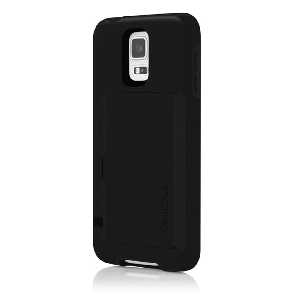 Incipio Black Stowaway Series Hybrid Hard Case & Crystal Silicone Lining w/ ID & Card Compartment for Samsung Galaxy S5 - SA-533-BLK
