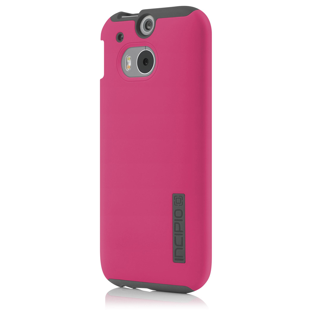 Incipio Hot Pink Dual PRO Series Hard Case on Gray Silicone Skin for HTC One (M8) - HT-396-PNK