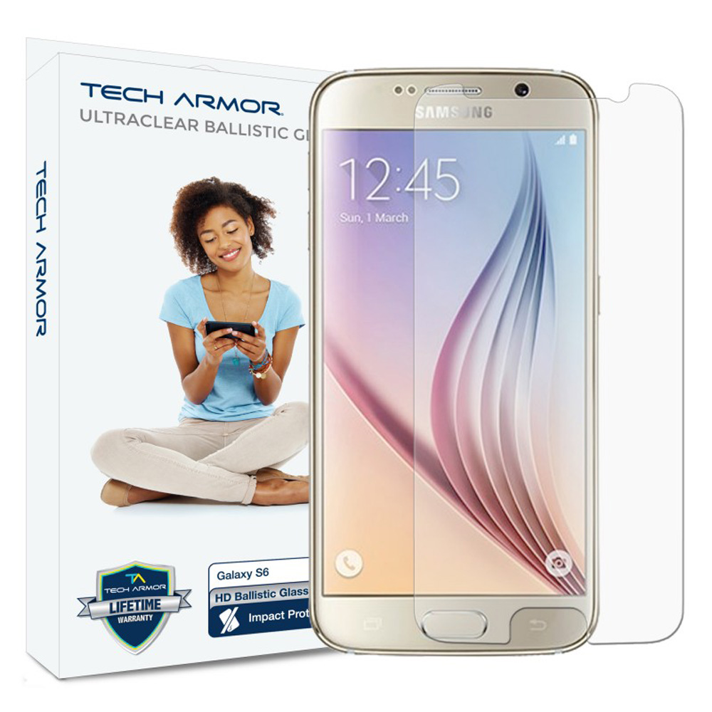 Samsung Galaxy S6 Screen Protector, Tech Armor [Ballistic Glass] HD Ultra Thin Matt Scratch Resistant, Bubble Free, Protective Screen Guard Film
