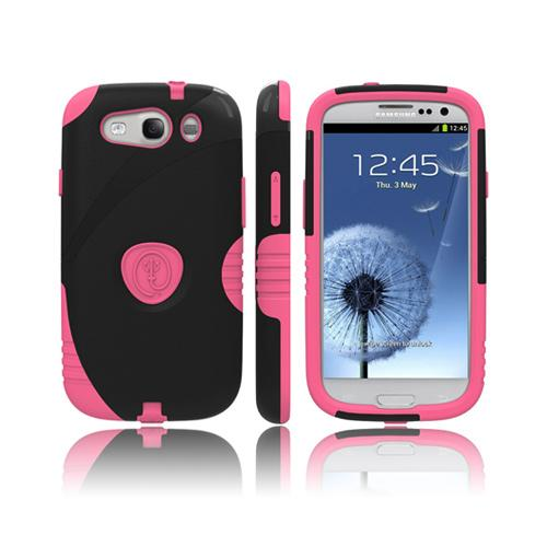Trident Aegis Samsung Galaxy S3 Hard Case Over Silicone w/ Screen Protector - Pink/ Black