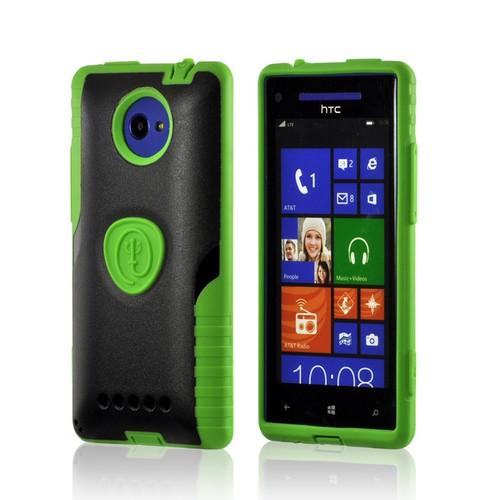 Trident Green/ Black Aegis Series Hard Case on Silicone w/ Screen Protector for HTC 8X