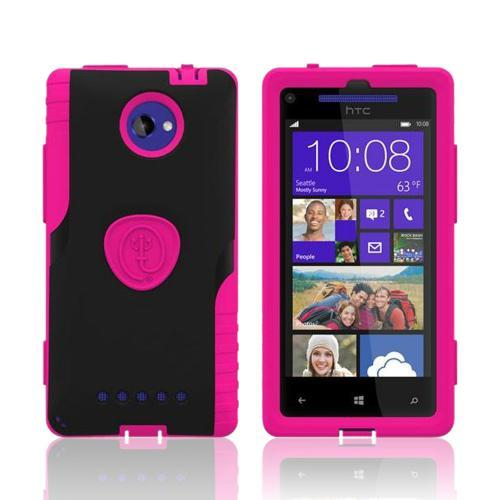 Trident Hot Pink/ Black Aegis Series Hybrid Case w/ Screen Protector for HTC 8X