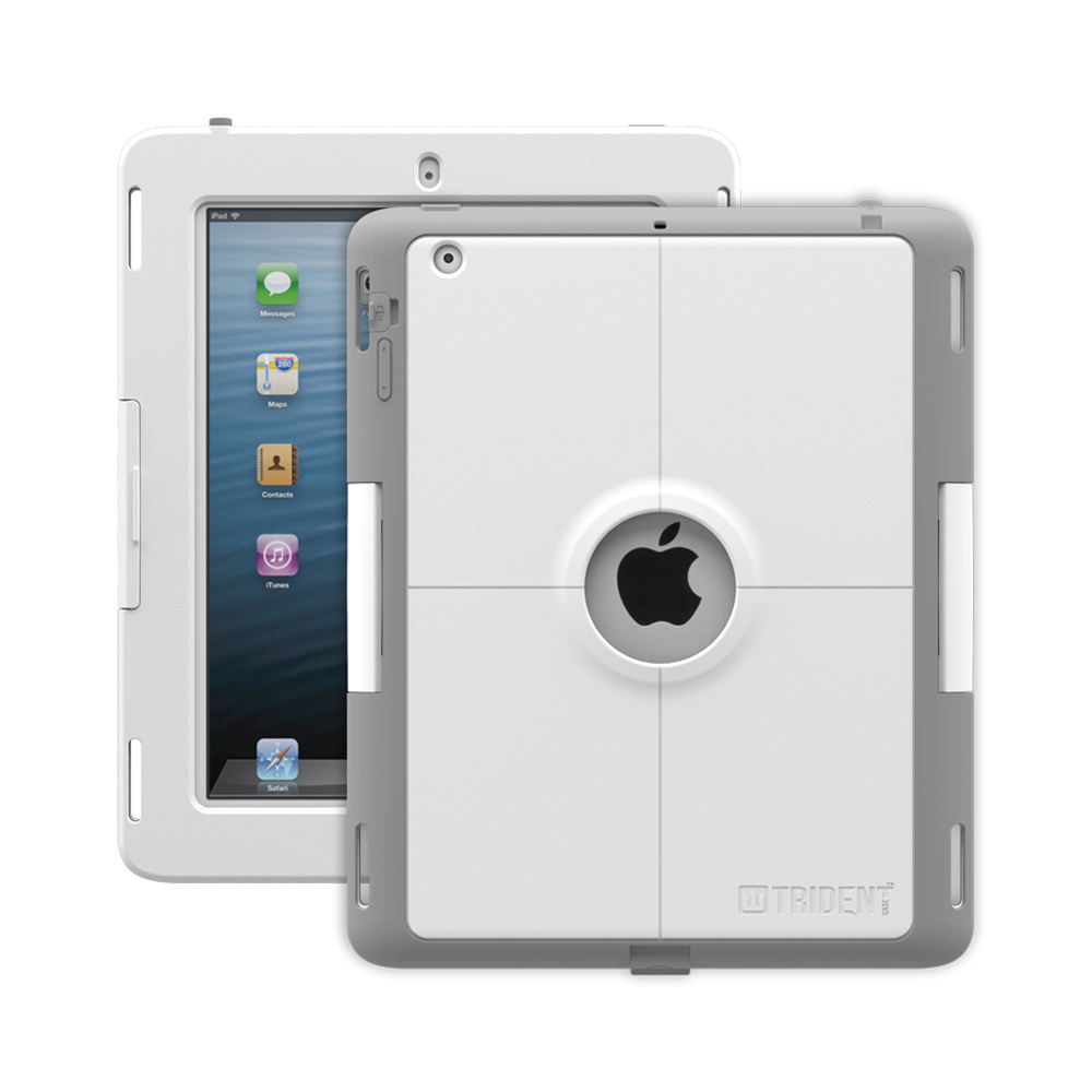 Trident Gray/white Apple Ipad 2/3/4 Kraken Ams Industrial Edition Hard Case On Silicone W/ Built-in Screen Protector - Perfect For Hospitals!