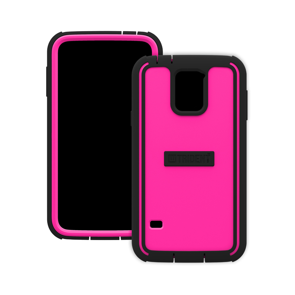 Trident Hot Pink/ Black Cyclops Series Thermo Poly Elastomer (super Tough) Hard Case W/ Built-in Screen Protector For Samsung Galaxy S5