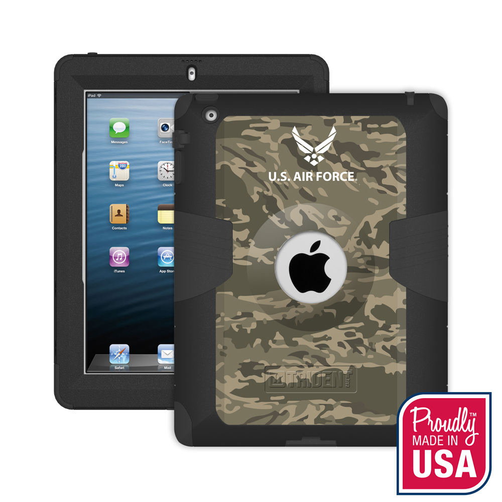 Trident U.S. Air Force Military Kraken AMS Green Camo Series Hard Cover on Silicone Skin Case w/ Built-In Screen Protector for Apple iPad 2/3/4 - KN-APIPDNUBKK02