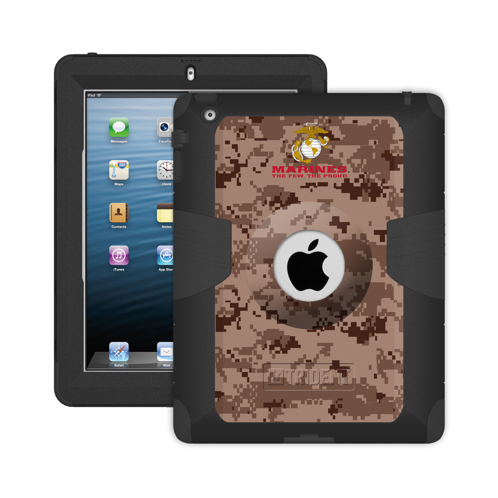 Trident U.s. Marines Military Kraken Ams Series Brown Digital Camo Hard Case On Silicone Skin Case W/ Built-in Screen Protector For Apple Ipad 2/3/4
