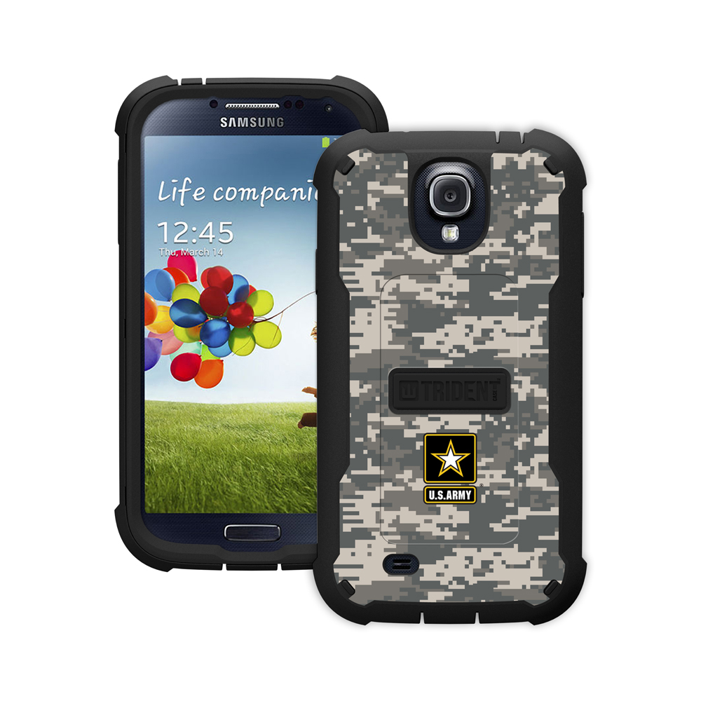 Trident U.S. Army Military Cyclops Series Gray Digital Camo Thermo Poly Elastomer (Super Tough) Hard Case W/ Built-in Screen Protector for Samsung Galaxy S4