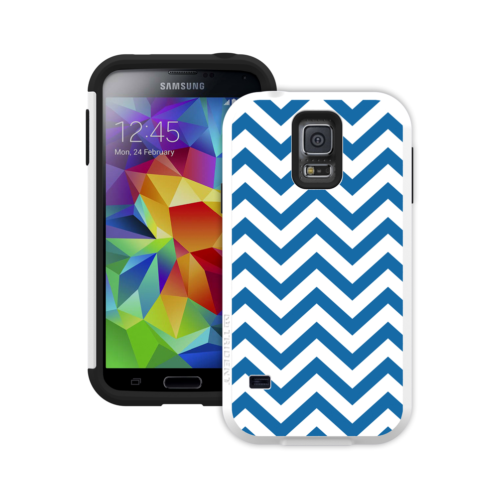 Galaxy S5 Dual Layer Case by Trident [Blue Zig Zag] Aegis Series Featuring Hardened Polycarbonate Over Silicone Skin Hybrid Case W/ Screen Protector