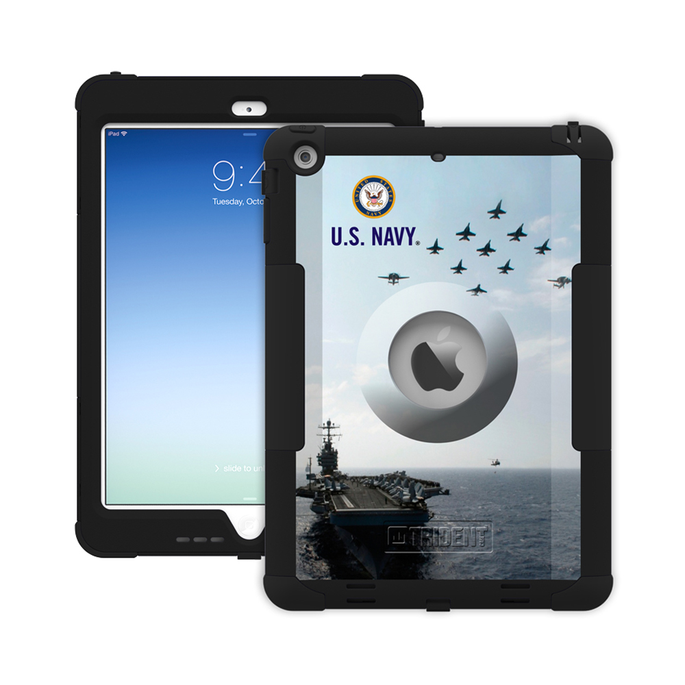 Trident U.S. Navy Military Kraken AMS Series Hard Cover on Silicone Skin Case w/ Built-In Screen Protector for Apple iPad Air - KN-APIPAR-BKK07