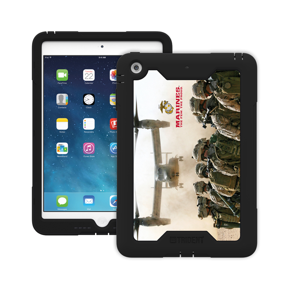 Made for Apple iPad Mini 1/2, U.S. Marines Military Cyclops Series Thermo Poly Elastomer (Super TOUGH) Hard Case w/ Built-In Screen Protector- CY-APIPMR-BKK03 by Trident