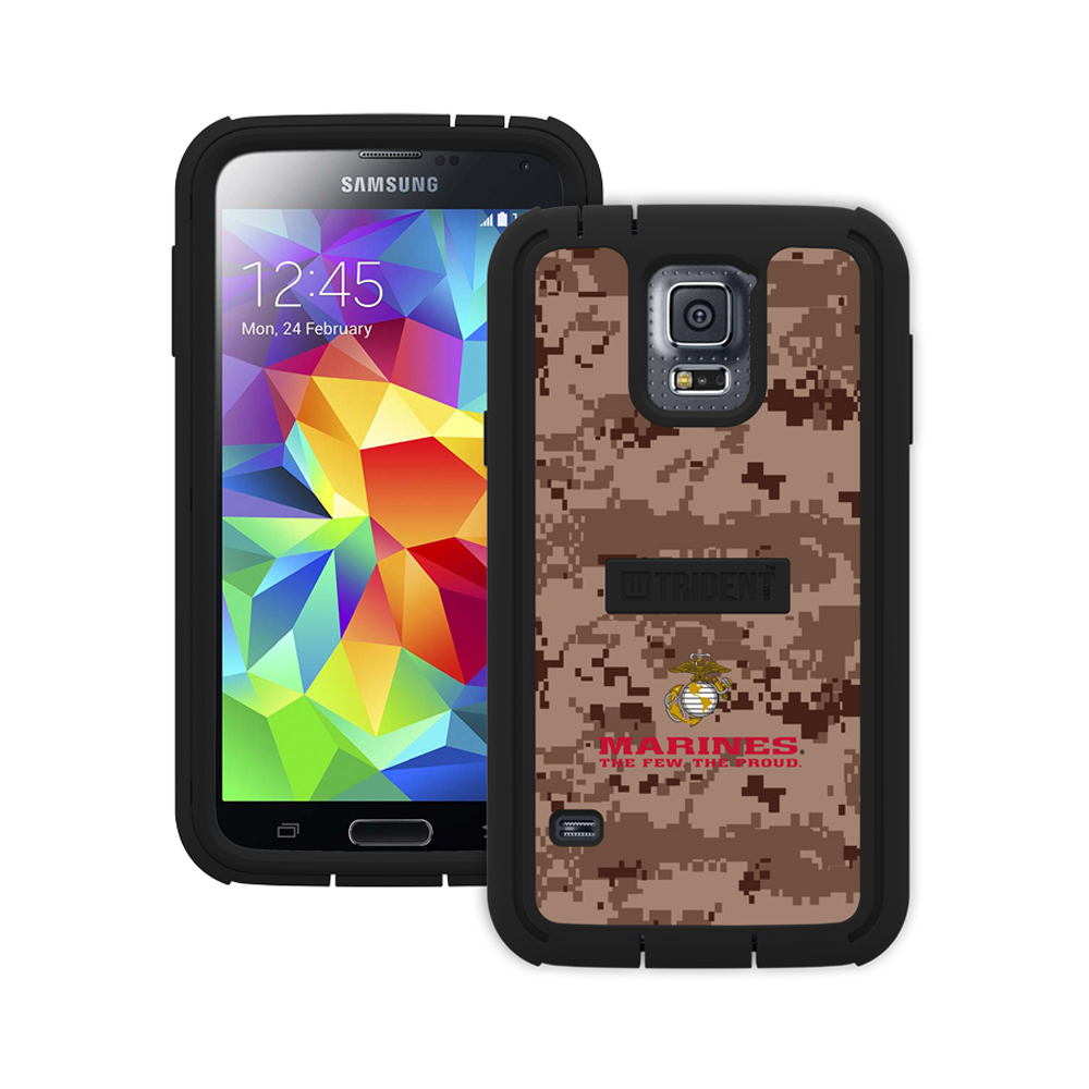 Trident U.S. Marines Military Cyclops Series Brown Digital Camo Thermo Poly Elastomer (Super TOUGH) Hard Case w/ Built-In Screen Protector for Samsung Galaxy S5 - CY-SSGXS5-BKK04