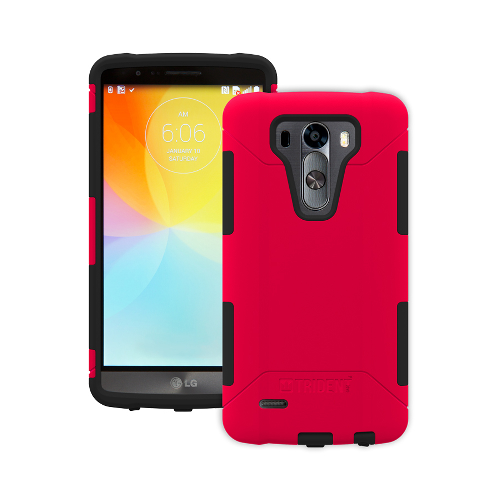 LG G3 Case, Trident [Red] AEGIS Series Featuring Hardened Polycarbonate Over Silicone Skin Hybrid Case w/ Screen Protector